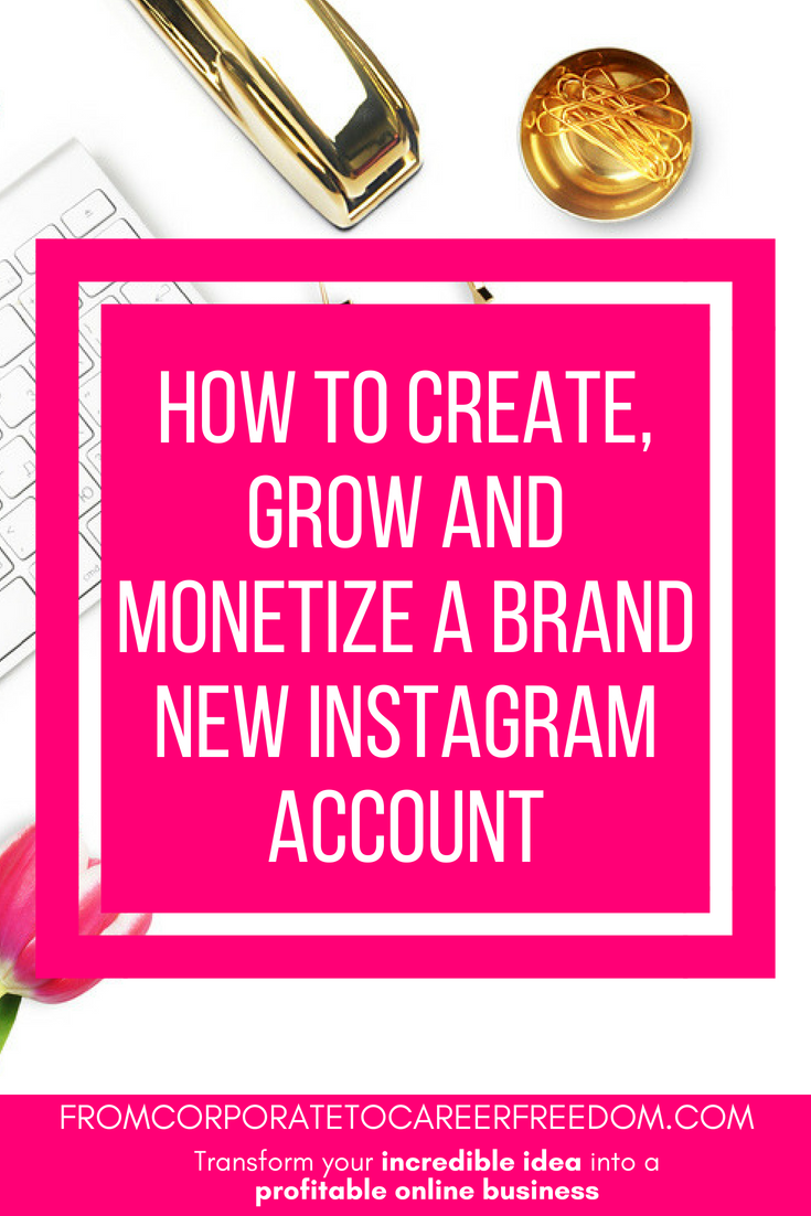 how to create, grow and monetize a brand new instagram account, social media, entrepreneurs, online, business, make money online, growing an instagram account, instagram influencer